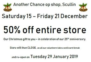 Another Chance Op Shop (Scullin) – 50% off STOREWIDE
